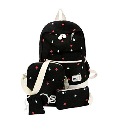 ESAILQ Mode étudiants Toile Sac à bandoulière Grand sac à dos Pochette quatre ensembles filles