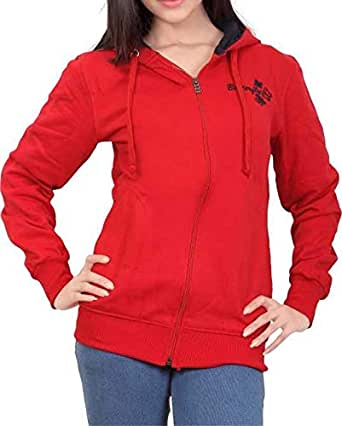 ADBUCKS Women's Winter Wear Hood with Zipper Cotton Jacket (Small, Red)