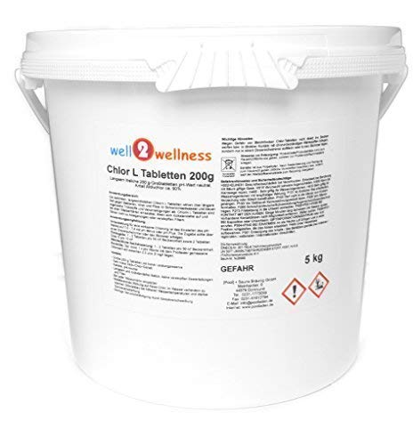 well2wellness Chlor L Tabletten 200g - langsam lösliche Chlortabletten a 200g mit 90{81d387981e5a56948a2430ac328b39ef190192589fef46fabb3ec475fb1156ca} Aktivchlor, 5,0 kg