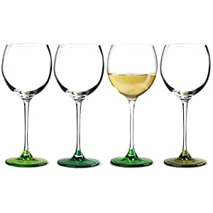 LSA Coro Leaf Wine Glasses 14oz / 400ml - Pack of 4 | Designer Wine Glasses, LSA Glassware
