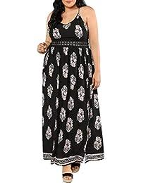 25d3466a2cc OHQ Grande Taille Dames AjouréE Couture Plume Sangle Robe Fendue Longue  Femme BohèMe Maxi Lady Beach éTé Sundrss Blanche Manche…