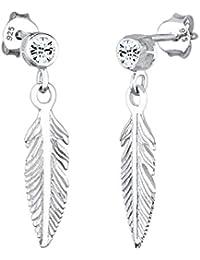 Elli Damen-Ohrhänger Feder 925 Sterling Silber Swarovski Kristall weiß 303291912