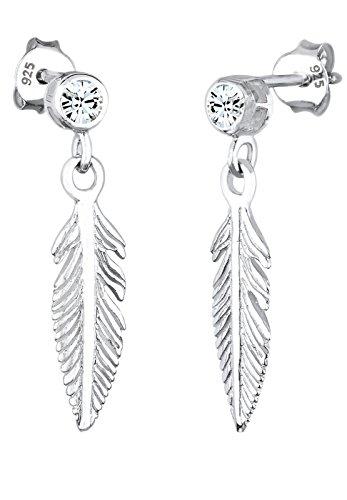 Elli Damen Schmuck Ohrringe Ohrhänger Feder Boho Hippie Bohemian Freiheit Flügel Silber 925 Swarovski® Kristalle