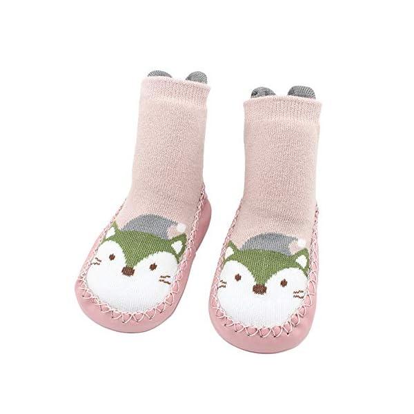 MAYOGO Calcetines Zapatos Antideslizantes para Bebé Calcetines Largos Antideslizantes Estampado Animal para Niñas… 3