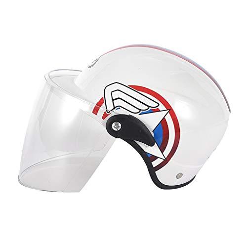 Kinderhelm Cartoon Nette Motorrad Outdoor Sports Sommer Helm Jungen Und Mädchen Helm Schutzhelm Schutzkappe (Color : White transparent Lens)