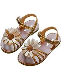 Moda para niños, niñas y Zapatos Princesa Sandalias con Girasol Antideslizante, Sandalias, Zapatos Casuales de Todo Color para el Verano, Color Dorado 21