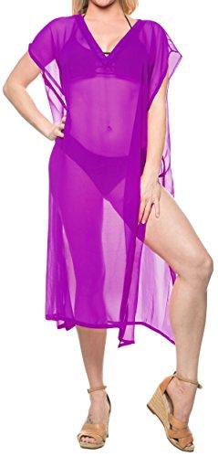 Schiere Lila Kleid (LA LEELA einfache Feste offene Seite der Strandbadebekleidung Kimono lang Schiere Kleid lila verschleiern)