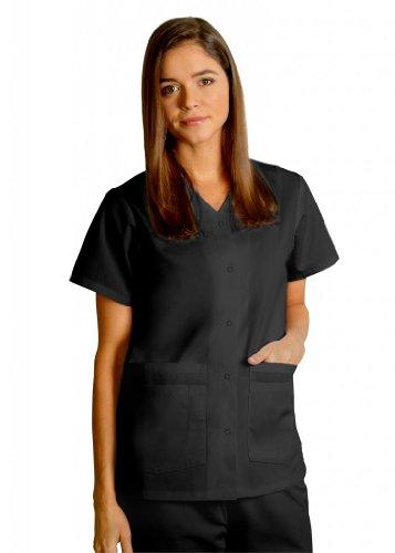 Adar Oberteil, zwei Taschen, mit Druckknöpfen, einfarbig, erhältlich in 39Farben, schwarz, 604BLK3X (Dickies-schwarz-peeling)