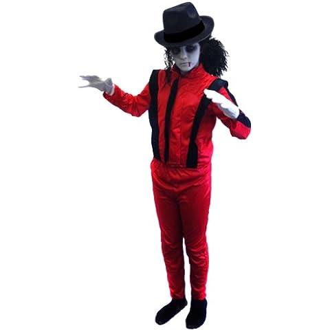 ILOVEFANCYDRESS - Disfraz de Michael Jackson zombie para niño (tallas de 4 a 14 años), color rojo y