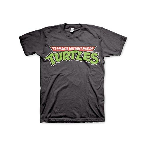 Offizielles Lizenzprodukt TMNT - Classic Logo T-Shirt (Dunkelgrau), (Turtles Shirt Ninja T)