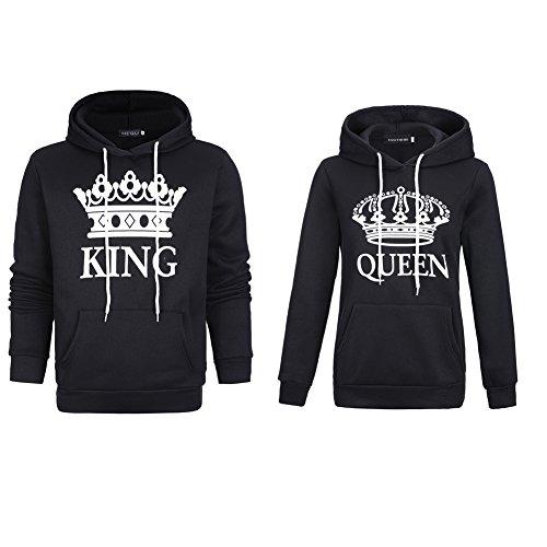 Stephaee Damen und Herren Pärchen King Queen Pullover Kapuzenpulli Paare Sweatshirt Schwarz 01 Herren XL +Damen M