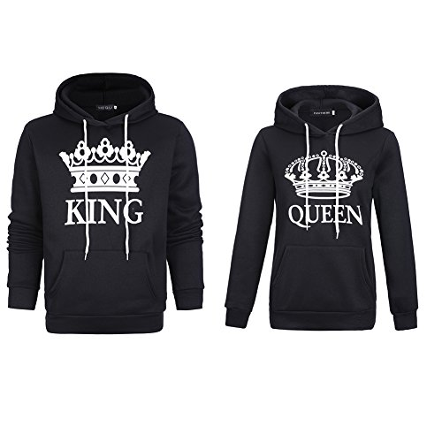 *Stephaee Damen und Herren Pärchen King Queen Pullover Kapuzenpulli Paare Sweatshirt Schwarz 01 Herren L +Damen M*