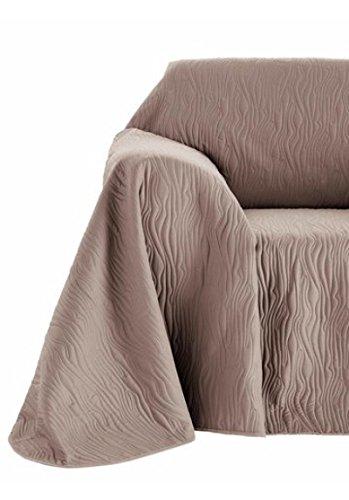 heine home Wende Sofa-Sesselüberwurf Sesselschoner gesteppt Landhaus grau-taupe, Größe:160 x 190 cm