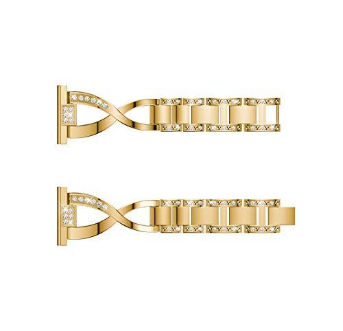YBWZH Ersatz-Metallkristall-Uhrenarmband-Armband für Samsung Galaxy Watch (42mm)(Gold)