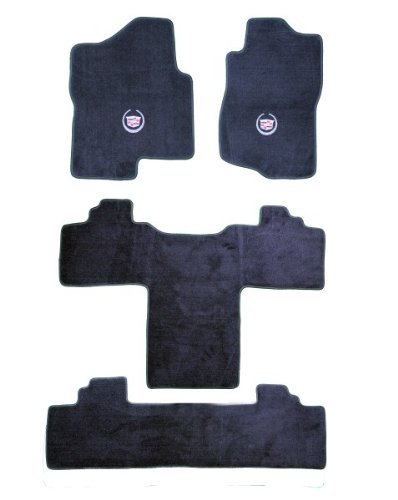 cadillac-escalade-2nd-row-captain-seats-graphite-carpet-floor-mats-with-silver-crest-logo-2011-11-by