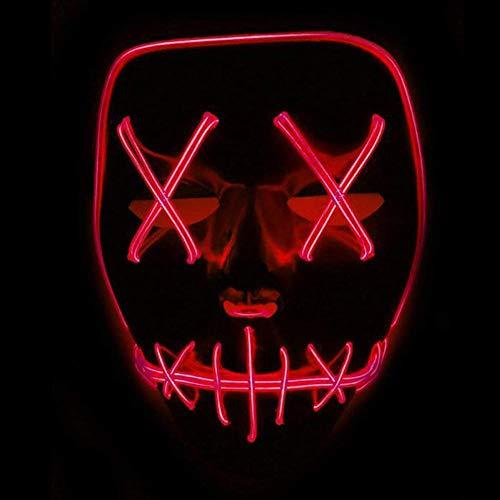 Halloween LED Masken Festival Party Cosplay Maske Leuchtet im Dunkeln Aufhellen Masken Cosplay Kostüm für Halloween Christmas Party (Red)