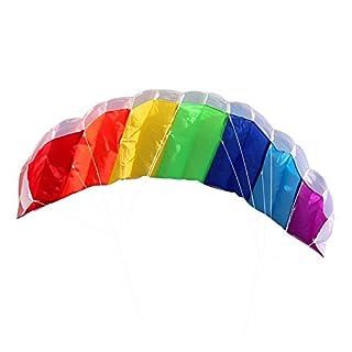 Techsmile 2018 NEUE 1.4m Rainbow Dual Line Fliegen Kite Stunt, Surfen Spiele Kinder Outdoor (Regenbogen)