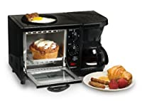 MaxiMatic EBK-200 Elite Cuisine 3-in-1 Multifunction Breakfast Deluxe Toaster Oven/Griddle/Coffee Maker, Black