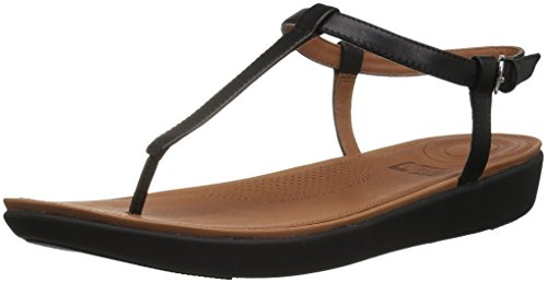 Fitflop Tia Toe-Thong Sandals-Leather, Sandali Punta Aperta Donna, Nero (Black 001), 38 EU
