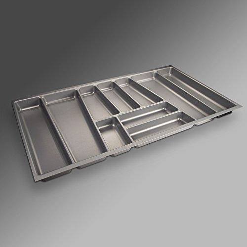 Sotech SO-TECH® Besteckeinsatz ORGA-Box II für Nobilia 90er Schublade (462 x 805 mm) Silbergrau (Organizer Schubladen Küchen)