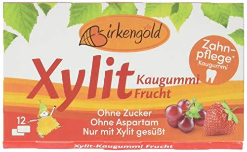 Birkengold Xylit Kaugummi Frucht, 8er Pack | Zahnpflege-Kaugummi | zuckerfrei | 70 {c184c83bbf347aa5591e947bc13b71db9b19c0ee5f27bce97b726b75111d77ce} Xylit | vegan | ohne Titandioxid