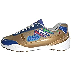 AGLA PROFESSIONAL ONE EXE OUTDOOR scarpe calcetto futsal calcio a 5 anti-shock system (41 EU, gold/blue)