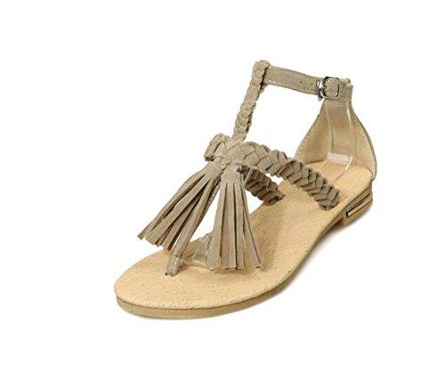 Beauqueen Sandalen Pumps Frauen Sommer Flache Quaste weiblich rot schwarz braun Beige Casual Schuhe Special Größe Europa 33-43 , 37 (Sandal Rote Glitter)