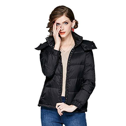 YZ-HOD Damen Daunenjacke Winter warm Europa und Amerika mit Kapuze Dicke Perlenjacke Kurzmantel, Black, XL