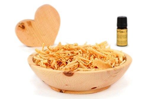 Duftset aus Zirbenholz - Schale & Späne & Herz & Zirbenöl - Deko Set Aroma - Hilfe bei Schlafstörungen und Migräne -