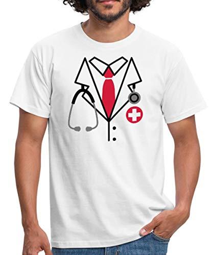 Kostüm Patienten Arzt - Spreadshirt Arzt Kostüm Männer T-Shirt, XXL, Weiß