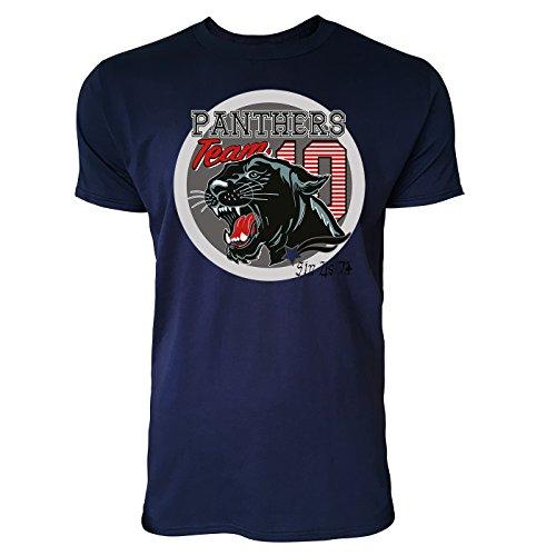 Sinus Art ® Herren T Shirt Panthers Team 10 ( Navy ) Crewneck Tee with Frontartwork (Crewneck Panther)