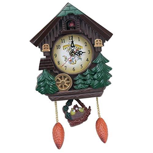FLAMEER Batteriebene Kuckucksuhr Kuckuckuhr Wanduhr Kinderzimmer Uhr mit Kuckuckruf Ornament