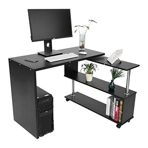 Zerone 360 Grad drehbarer Computertisch,Bürotisch,Arbeitstisch aus Spanplatten mit dem Bücherregal (Weiß,Schwarz,100 x 48 x 75cm)...
