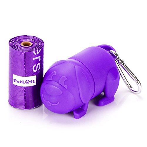 PetLoft Bolsa de basura para perro, biodegradable, duradera, 15 unidades, respetuosa con el medio ambiente, con tecnología EPI, un dispensador de color morado incluido