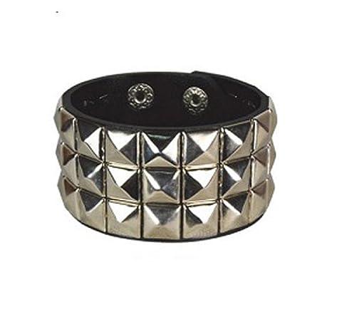 Silver Chrome Checked Studded Wristband 3 Row Pyramid Stud Cuff