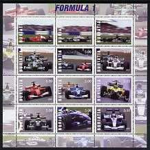 Buriatia Republic 2001 Formula 1 Motor Racing perf sheetlet set of 12 values u/m RACING CARS CARS F1 JandRStamps