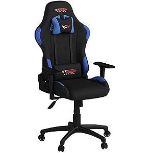 GT Omega Pro Racing – Silla de oficina, color negro con tela azul