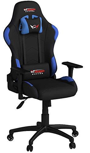 GT Omega Racing - Sedia da Ufficio in Tessuto, Colore: Nero con Inserti Blu