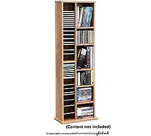 HomeStore Global, Bricolage cadeau de Noël Etagère de rangement pour CD, DVD et livres - Meuble multimedia - Finition chêne. 40 x 20 x 113 cm. Capacité de rangement de 168 CD