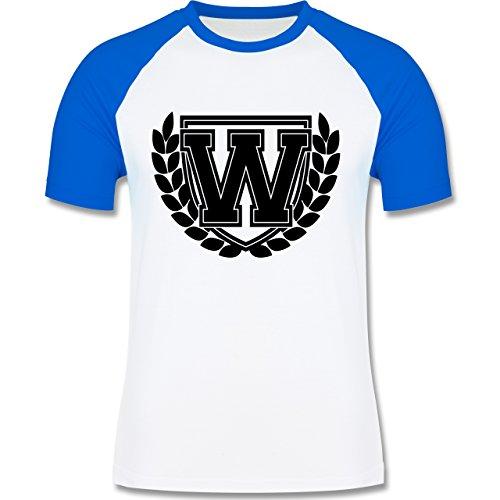 Anfangsbuchstaben - W Collegestyle - zweifarbiges Baseballshirt für Männer Weiß/Royalblau