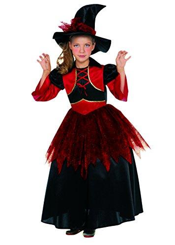 Blumen Paolo 23008–Rote Hexe Kostüm Mädchen, rot/schwarz 7-9 anni ()