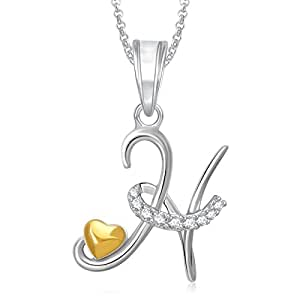 amaal jewellery gold plated h letter heart letter pendant with chain in crystal