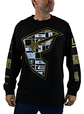 Famous Stars and Straps Men's Dark Flag BOH Long Sleeve Shirt Black 3XL