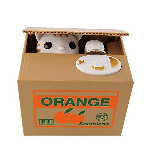 Peradix Spardose Katze und Panda Elektro Gelddose Sparschwein Elektronische Spielzeug Kinder Geburtstagsgeschenk (Weiße Katze)