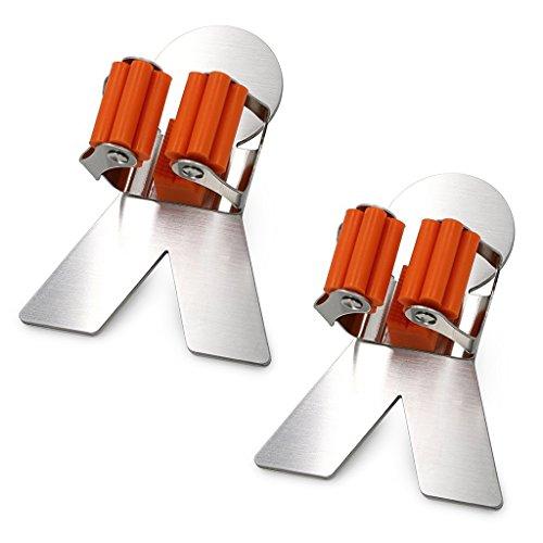 Besenhalter,Lifesport 2 Stück Besen Halter Gerätehalter Wandhalter aus Edelstahl Bad Küche Organizer Rack mit 3M Selbstklebend (Fischgrätenmuster)