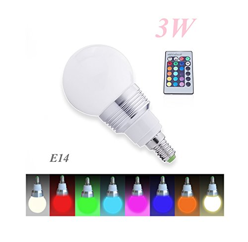 (Energía: A) Bombilla LED + 1mando a distancia Cambio de color Lámpara, Bombilla, E143W RGB Lámpara LED Bulb,–Bombilla LED con Magia Wireless Remote Control