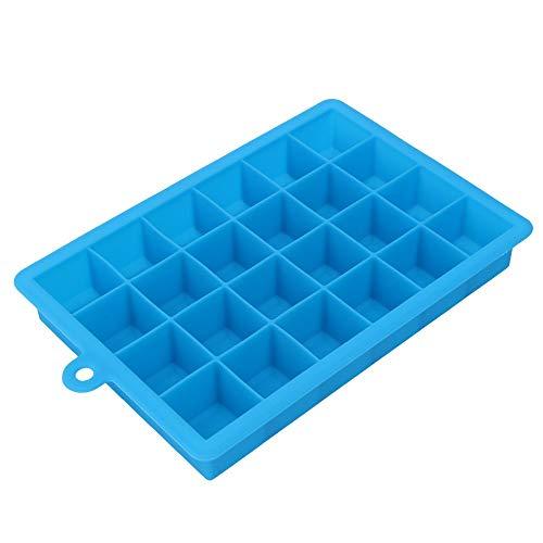 Vektenxi Eiswürfelform 24 Gitter Quadratische Form DIY Eiswürfelschale Obst Eiswürfel Eismaschine Küche Bar Trinkzubehör, himmelblau Langlebig und Praktisch