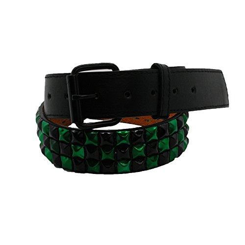 Bullet 69Nero e Verde Controllato 3Row Studded Belt (38mm) Black & Green L