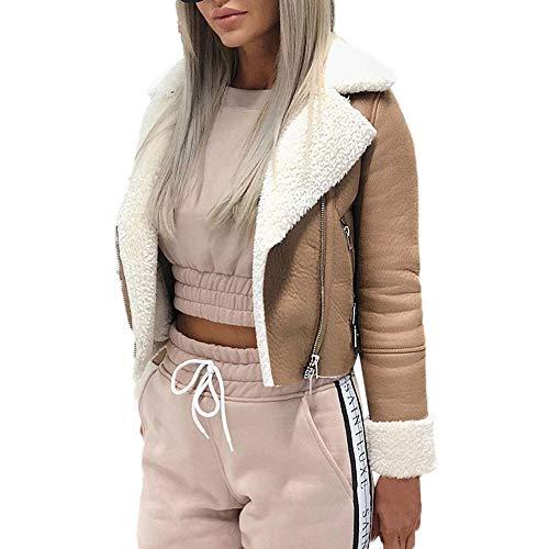 KUSUOU Giacca da Moto Donna, Giacche Corto Risvolto Pelle Scamosciata Trench Cappotto Faux Agnello Lana Invernale Cappotti Caldo Elegante Outwear Giubbotto