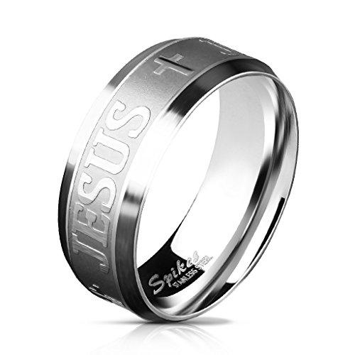 Tapsi´s Coolbodyart® Damen Herren Edelstahl Ring Fingerring Statementring mit Gravur Jesus und Kreuz Größe 5/6/7/8/9/10/11/12/13